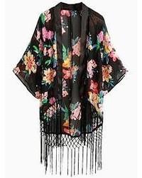 Choies Black Floral Tassels Kimono