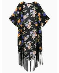 Choies Black Floral Tassels Kimono Short Sleeves Coat