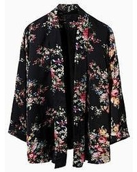 Choies Black Floral Three Quarter Sleeve Kimono Coat