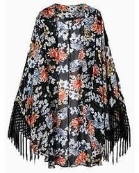 Choies Black Vintage Floral Tassel Kimono Coat