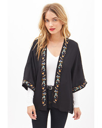 Forever 21 Contemporary Floral Embroidered Kimono