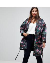Asos Curve Dark Floral Jacquard Kimono Jacket