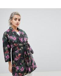 Asos Petite Dark Floral Jacquard Kimono Jacket