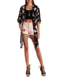 Charlotte Russe Embroidered Back Floral Kimono Cardigan