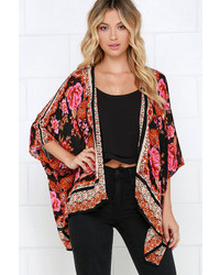 En Creme Russian Rose Red Floral Print Kimono Top