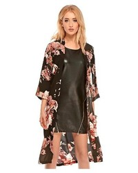 Fashion Union Black Floral Kimono