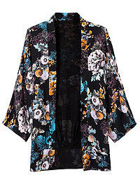 Romwe Floral Print Buttonless Cropped Sleeves Black Kimono
