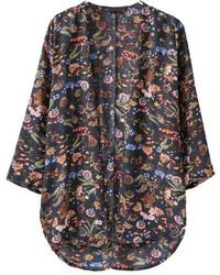 Floral Print High Low Black Kimono