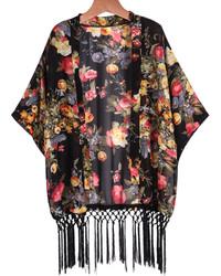Floral Tassel Chiffon Black Kimono