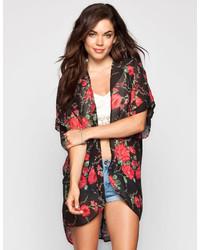 Full Tilt Floral Print Lace Back Kimono