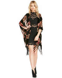Glamorous Floral Velvet Devore Kimono In Black Beige S