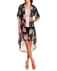 Charlotte Russe Lace Trim Chiffon Maxi Kimono