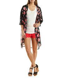 Charlotte Russe Lace Trim Floral Print Kimono