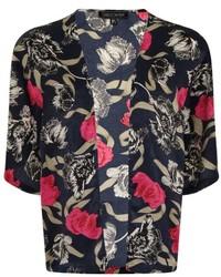 Girls On Film Navy Floral Print Kimono