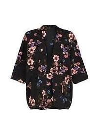 New Look Black Floral Print Kimono