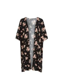 New Look Black Floral Print Midi Kimono