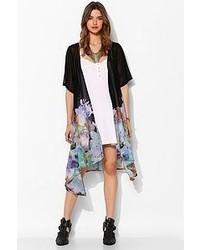 Reverse Falling Floral Short Sleeve Kimono Jacket