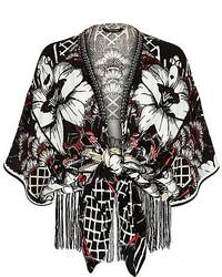 River Island Black Floral Print Tie Front Kimono Jacket