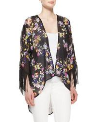 Romeo & Juliet Couture Floral Print Fringed Cuff Kimono Blackpurplerust