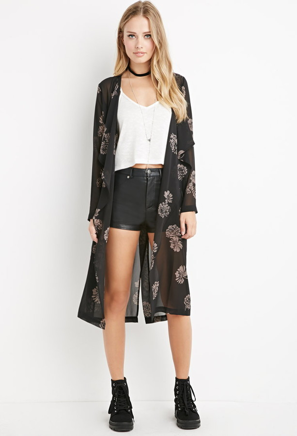Forever 21 Sheer Floral Longline Kimono | Where to buy & how to wear