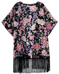 Tassel Floral Print Short Sleeve Black Kimono