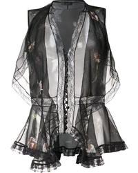 Alexander McQueen Draped Floral Design Blouse