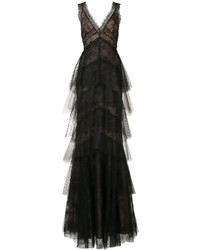 Marchesa Notte Floral Lace Layered Gown
