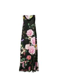 P.A.R.O.S.H. Floral Print Lace Trim Long Dress