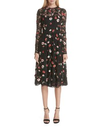 Lela Rose Embroidered Lace Midi Dress