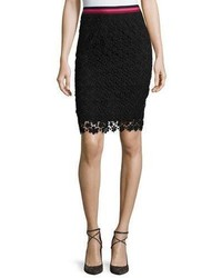 Trina Turk Floral Lace Pencil Skirt Black