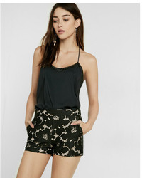 Express Petite Mid Rise Floral Lace Shorts