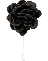 Lanvin Black Leather Flower Tie Pin