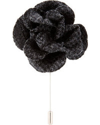 Grey black tweed flower tie pin medium 70669
