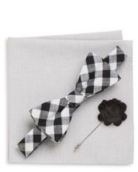 Original Penguin Windows Gingham Bow Tie Flower Lapel Pin Pocket Square Gift Set