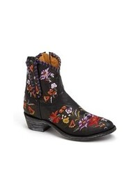 Black Floral Leather Ankle Boots