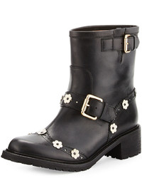 RED Valentino Floral Appliqu Leather Bootie Black