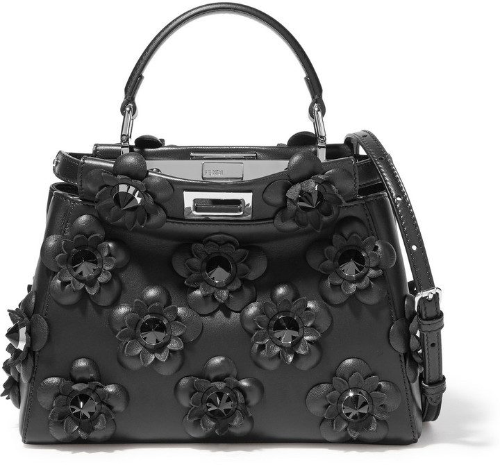 0a78ce1a4e77 Fendi Peekaboo Mini Floral Appliqud Leather Shoulder Bag Black ...
