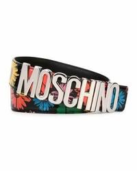 Black Floral Leather Belt