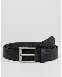 Asos Wide Leather Belt With Vintage Floral Emboss