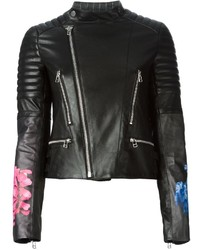 Black Floral Leather Biker Jacket