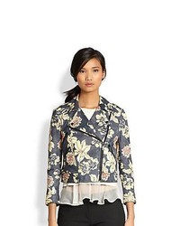 Elizabeth and James Lily Erwan Floral Print Leather Biker Jacket Black Floral