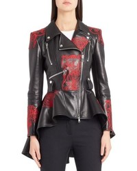 Alexander McQueen Embroidered Leather Biker Jacket