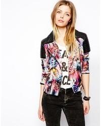 Asos Floral Print Biker Jacket Black