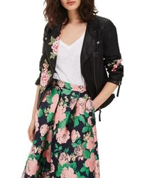 Topshop Luna Floral Patch Faux Leather Biker Jacket