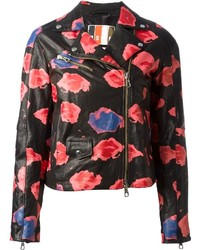 Msgm floral printed biker jacket medium 122156