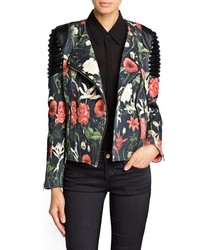 Mango Outlet Quilted Panel Floral Biker Jacket