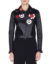 Fendi Floral Embellished Leather Bomber Jacket Black