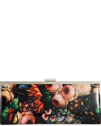 Black Floral Leather Clutch