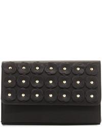 Neiman Marcus Floral Appliqu Box Clutch Bag Black
