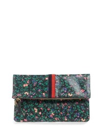 Clare V. Foldover Ditzy Floral Leather Clutch